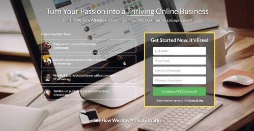 Sign up Page for Wealthy Affiliate