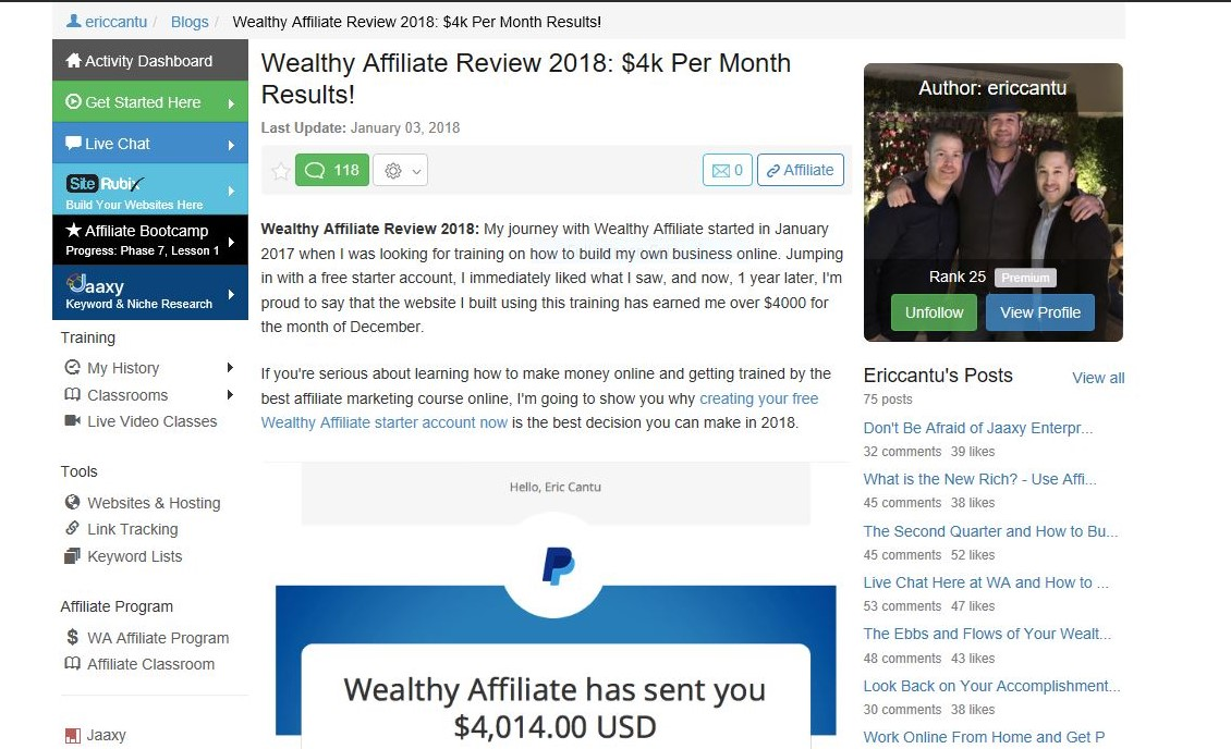 Wealthy affiliate testimonials. Travel blogger.