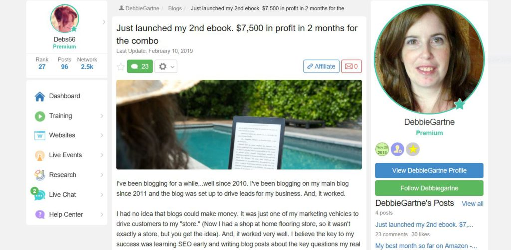 Debbie a new member and has been blogging for years but has just started to make money with her Blog