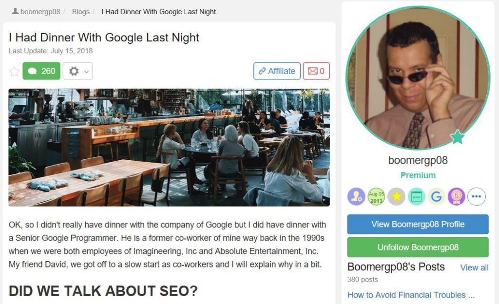 Robert had dinner with a Google expert a member of Wealthy Affiliate you can read that post right here.