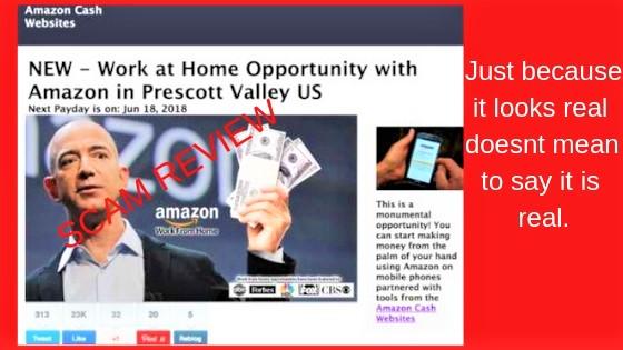 Amazon cash websites homepage scam reviewed