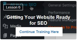 Getting your website SEO ready. Free Taring lesson 6 at Wealthy Affiliate.