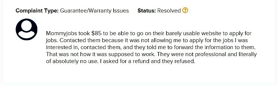 Un happy Client Moomy Jobs online. Refused refund.