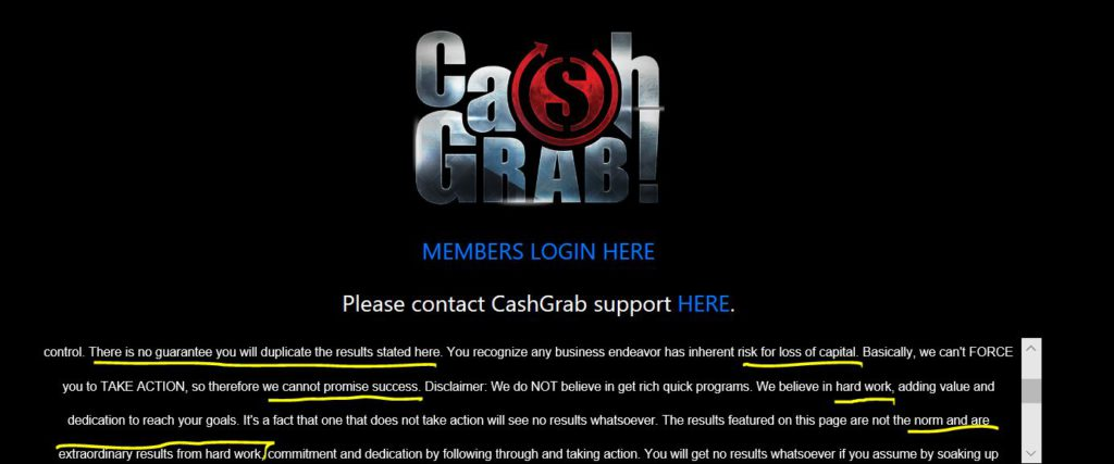 Disclaimer Cash Grab reviewed by superwealthyaffiliates