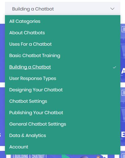 All Chatbot Training Categories within ConvesioBot