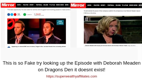Fake newspaper articles fake Dragons Den Episode. Bitcoin Revolution is a scam