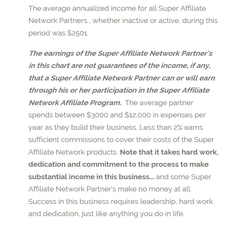 Super Affliate Network Earning Disclaimer