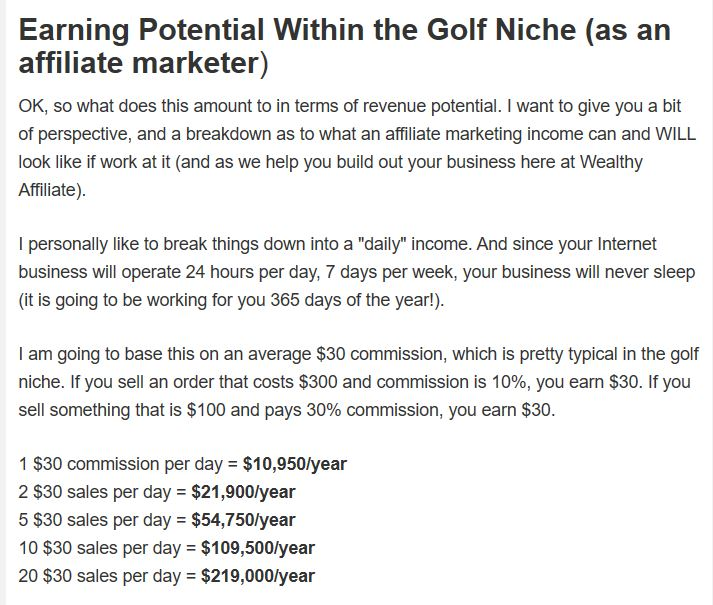 Just the earning Potential even with Golf as a Niche