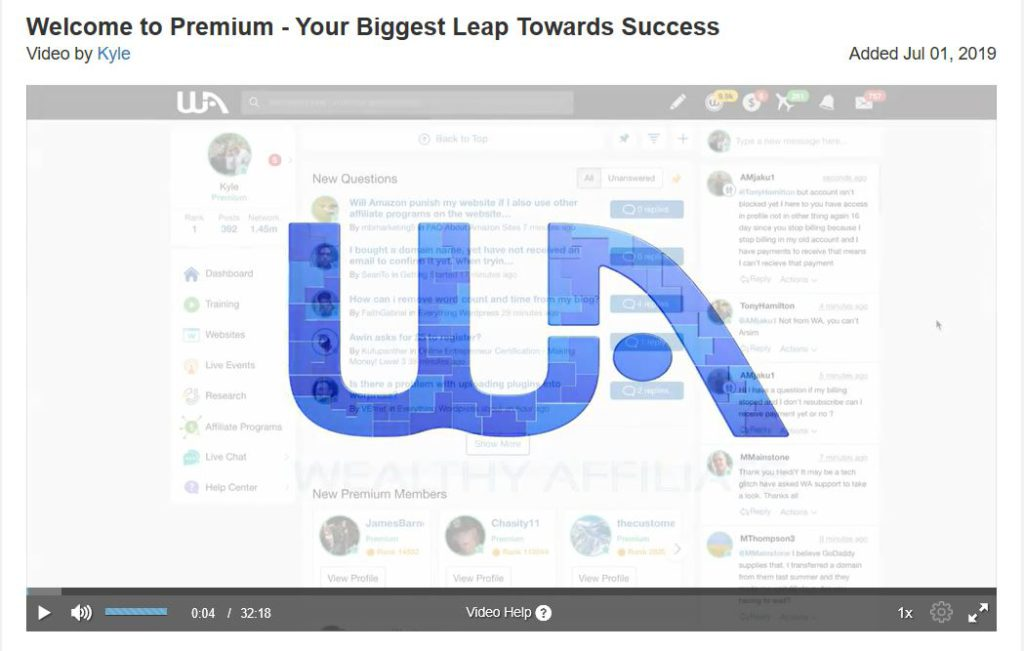 New Video from Kyle the Co-Founder of Wealthy Affiliate what to expect from Premium Membership