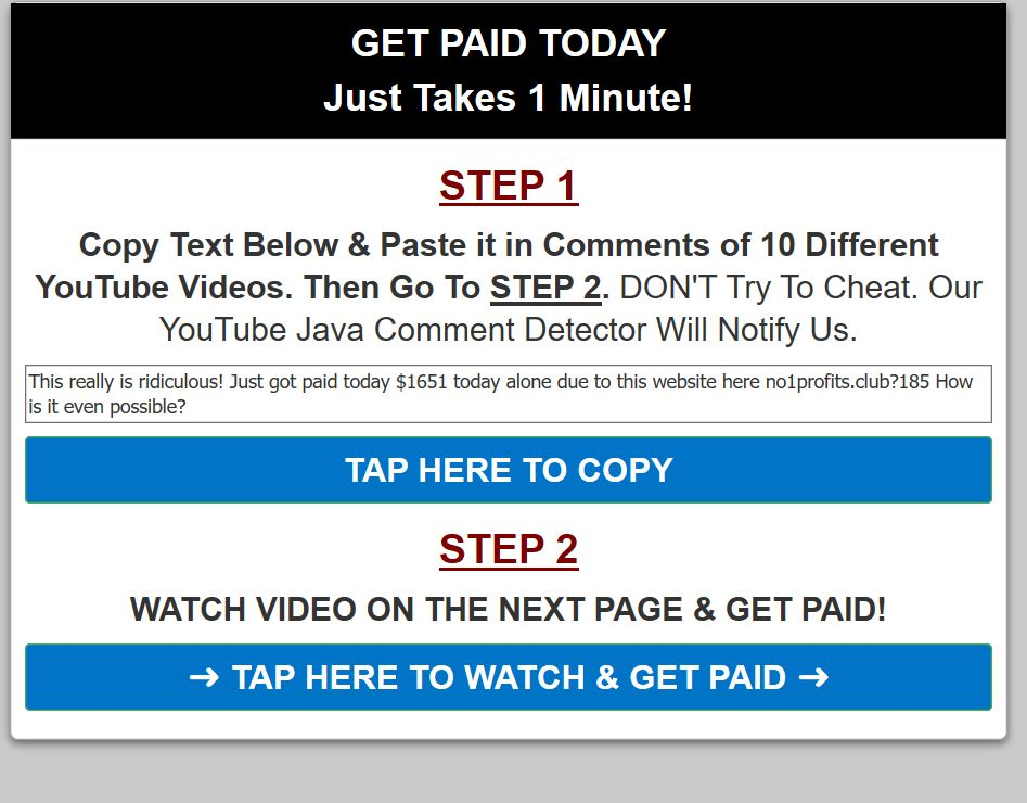 A Click funnel used to get my email and send me to the scam website Push Button System