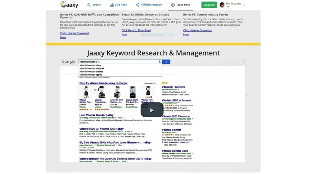Jaaxy keyword management tool