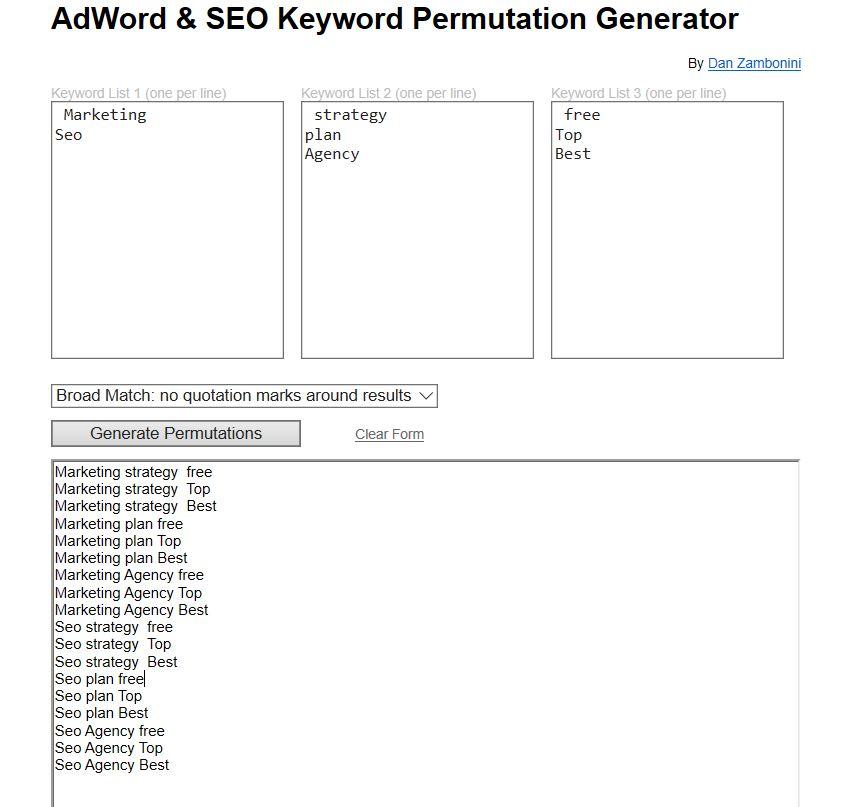 Ad Keyword Planner Permutations by Dan Zambonini