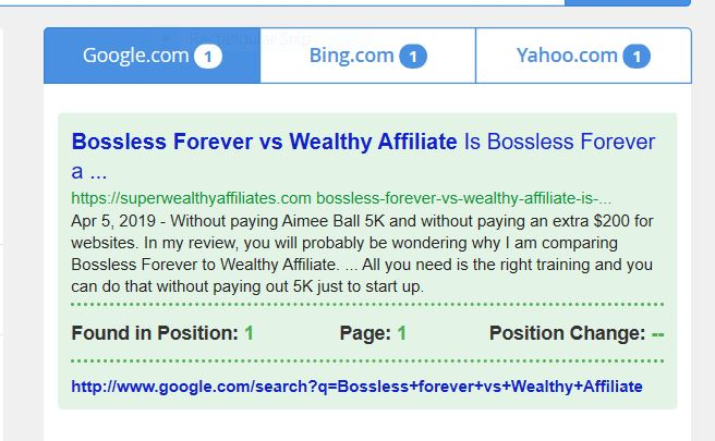 Bossless Forever VS WEalthy Affiiliate site rank