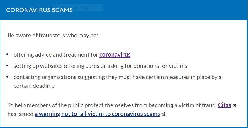 Corona Virus Scams Cifa